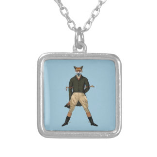 Vintage fox Hunting Silver Plated Necklace