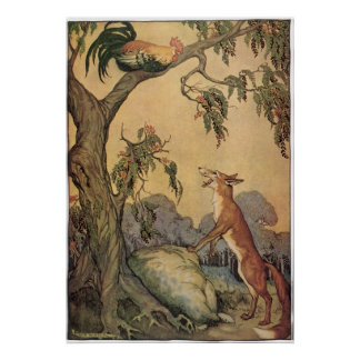 Vintage Fox the Cock and the Dog Aesop s Fable Poster