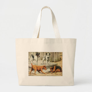 Vintage Fox, Wire Fox, Welsh, and Irish Terriers Large Tote Bag