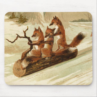Vintage Foxes on a Log Holiday Mouse Pad