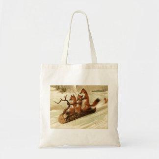 Vintage Foxes Sledding Tote Bag