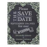 Vintage frame and chalkboard wedding Save the Date Post Card
