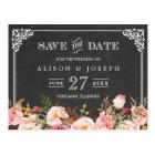 Vintage Frame Chalkboard Wedding Save the Date Postcard