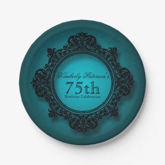 Vintage Frame in Blue - 75th Birthday Paper Plates