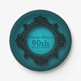 Vintage Frame in Blue - 90th Birthday Paper Plates 7 Inch Paper Plate