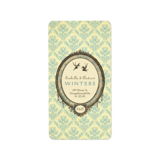 Vintage Frame on Damask Address Label