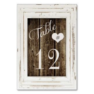 Vintage Frame Rustic Wood Typography Table Number Table Cards