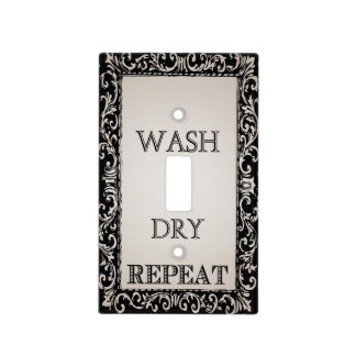 Vintage Frame Wash Dry and Repeat Laundry Light Switch Cover