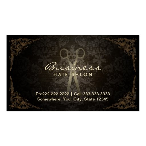 Vintage Framed Damask Hair Salon Appointment Business Card Template
