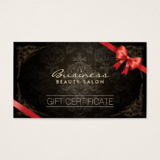 Vintage Framed Damask Red Ribbon Gift Certificates