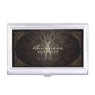 Vintage Framed Elegant Damask Hair Salon Business Card Holder