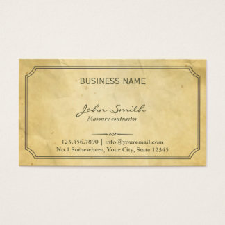Vintage Framed Old Paper Masonry Business Card