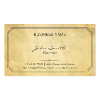 Vintage Framed Old Paper Playwright Pack Of Standard Business Cards