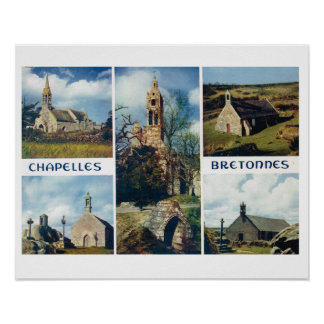 Vintage France, Bretagne, Churches and chapels Poster