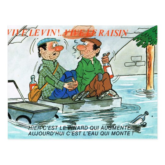 Vintage France, Comic fishermen, Vive le vin Postcard