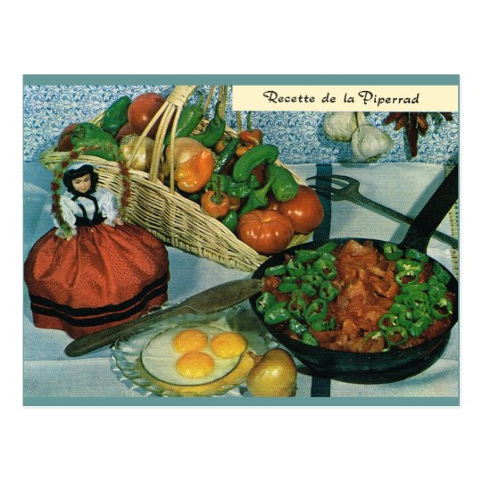 Vintage France, food, recette de la Piperrad Postcard