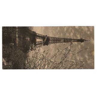 Vintage France Paris Eiffel tower 1970 Wood USB Flash Drive