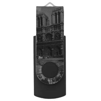 Vintage France Paris Notre Dame Cathedral Swivel USB 3.0 Flash Drive