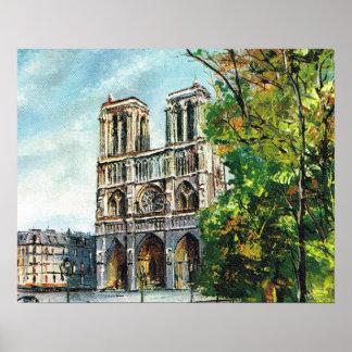 VIntage France, Paris, Notre Dame Poster