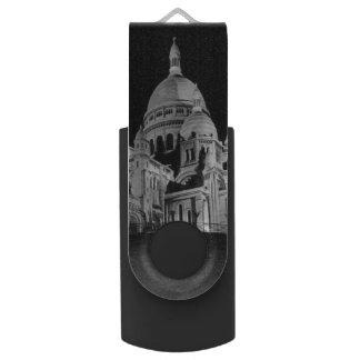Vintage France Paris Sacre Coeur Basilica Swivel USB 3.0 Flash Drive