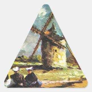 Vintage France, Pointe du Van, Finistere, Windmill Triangle Sticker