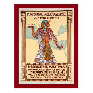 Vintage France to Egypt Travel Poster Postcard