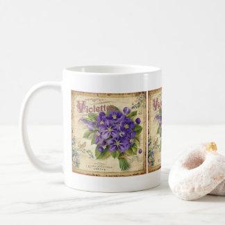 Vintage France Violets floral coffee mug