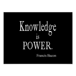 Vintage Francis Bacon Knowledge is Power Quote Poster