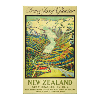 Vintage Franz Josef Glacier New Zealand Travel Canvas Print