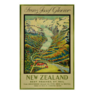 Vintage Franz Josef Glacier New Zealand Travel Poster