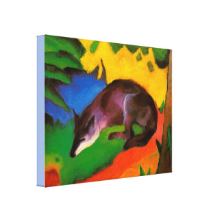 Vintage Franz Marc Blue-Black Fox Canvas Print