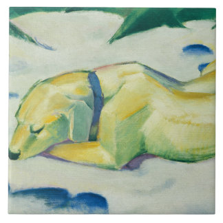 Vintage Franz Marc Dog Lying in the Snow Tile