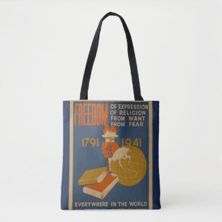 "Vintage ""Freedom"" Tote Bag"