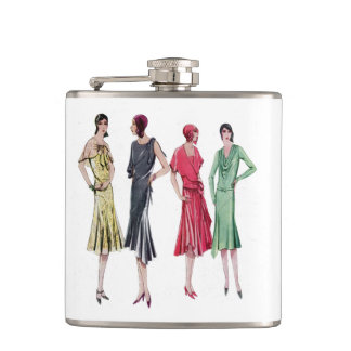 Vintage French 1929 Fashion Illustration Flask
