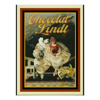 Vintage French Ad Poster for Chocolat Lindt