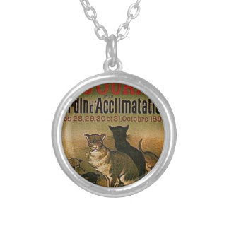 Vintage French Advertisement - cats Silver Plated Necklace
