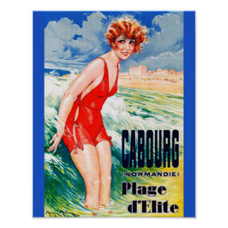 Vintage French Bathing Beauty circa 1925 Normandy Poster