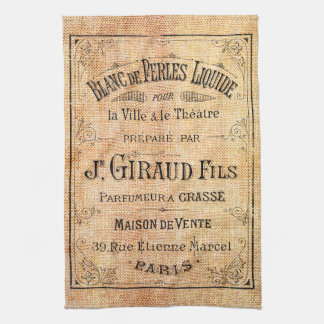 Vintage French beauty label Kitchen Towel