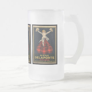 Vintage French Beer Advertising Poster Design 16 Oz Frosted Glass Beer Mug