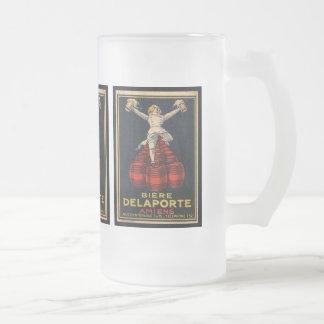 Vintage French Beer Advertising Poster Design Frosted Glass Mug
