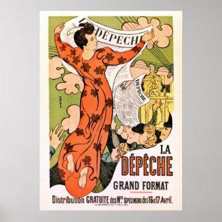 Vintage French belle époque Art nouveau newspaper Poster