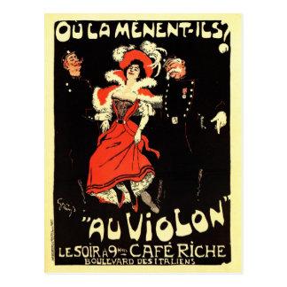 Vintage French belle époque nightclub ad Postcard