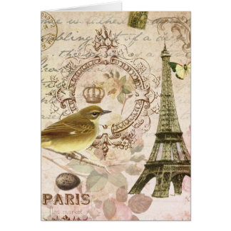 Vintage French bird and Eiffel Tower notecard