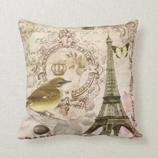 Vintage French bird and Eiffel Tower pillow