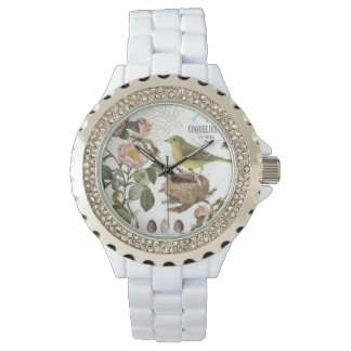 Vintage French bird and nest watch