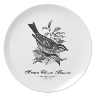 Vintage French bird black and white plate