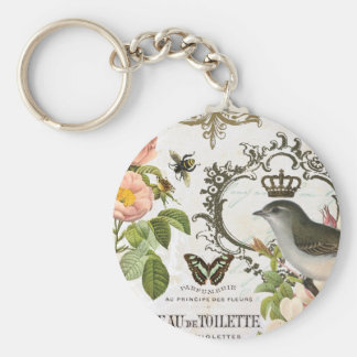 Vintage French Bird with crown keychain