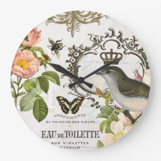 Vintage French Bird with crown wall clock