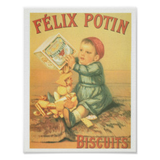 Vintage French biscuits Felix Potin baby Poster