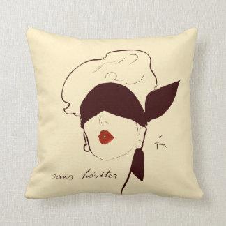 Vintage French Blindfolded Woman Rene Gruau Tan Throw Pillow